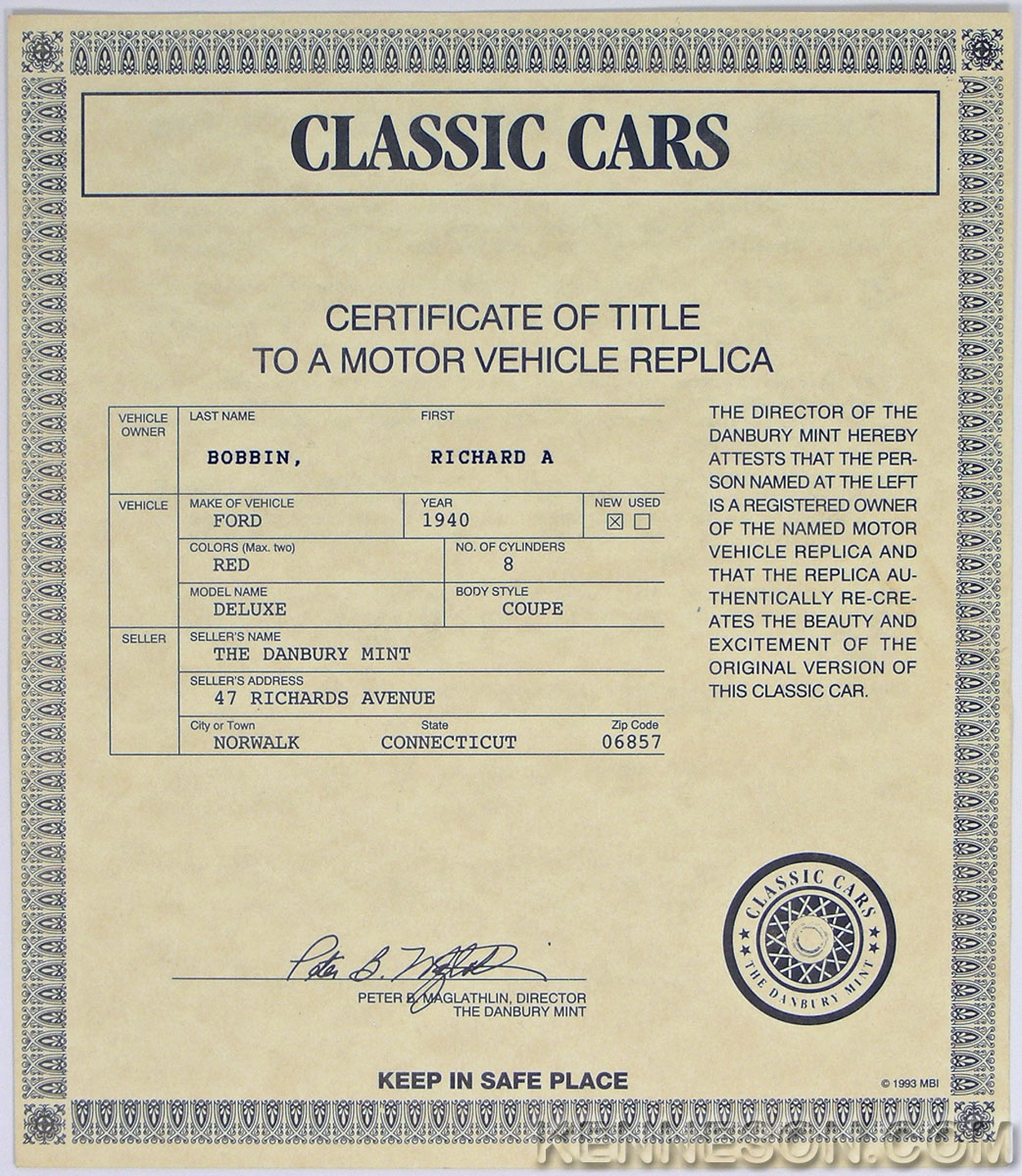Danbury Mint 1940 Red Ford Deluxe Coupe Certificate Of