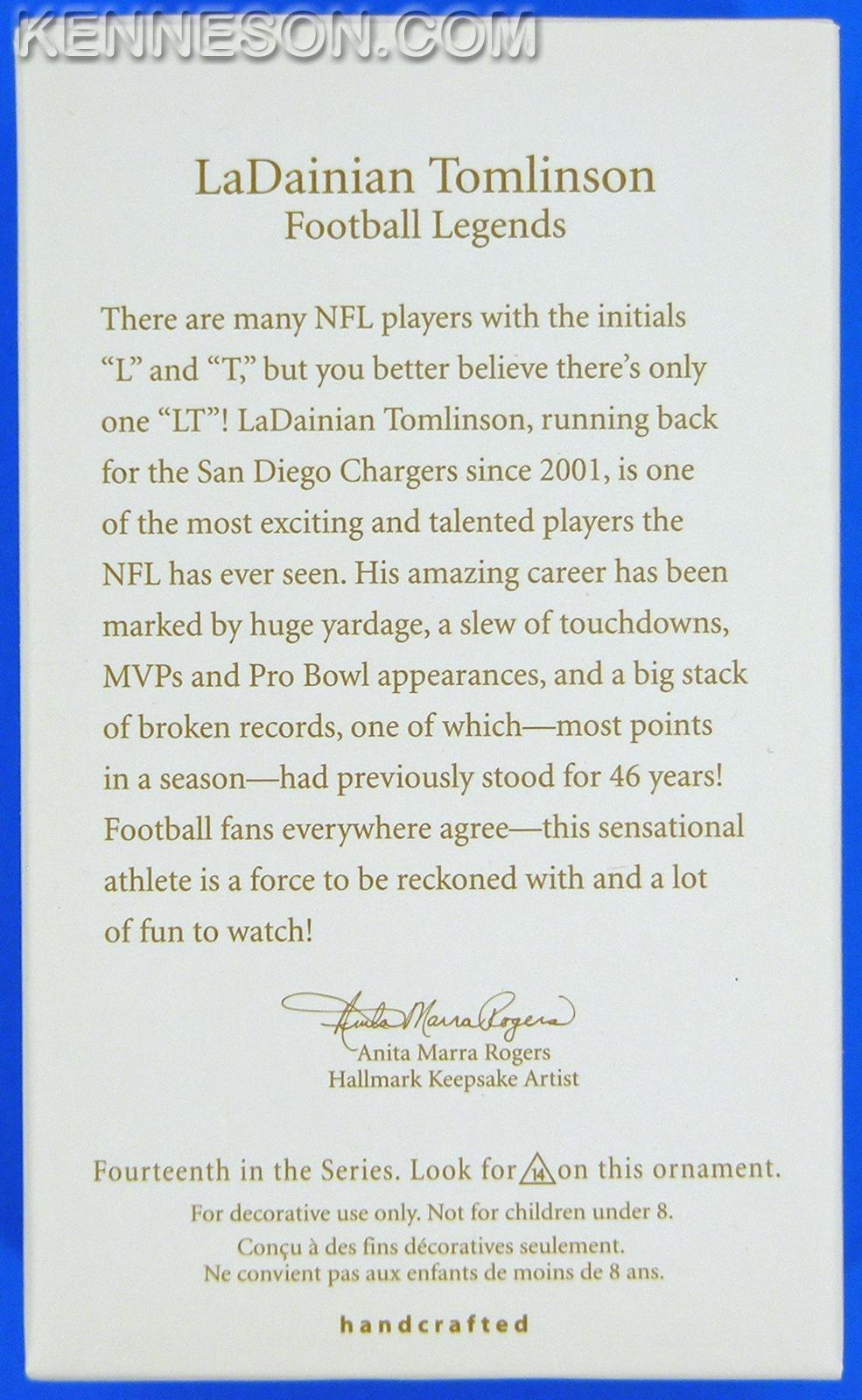 Ladainian Tomlinson San Diego Chargers Football Legends