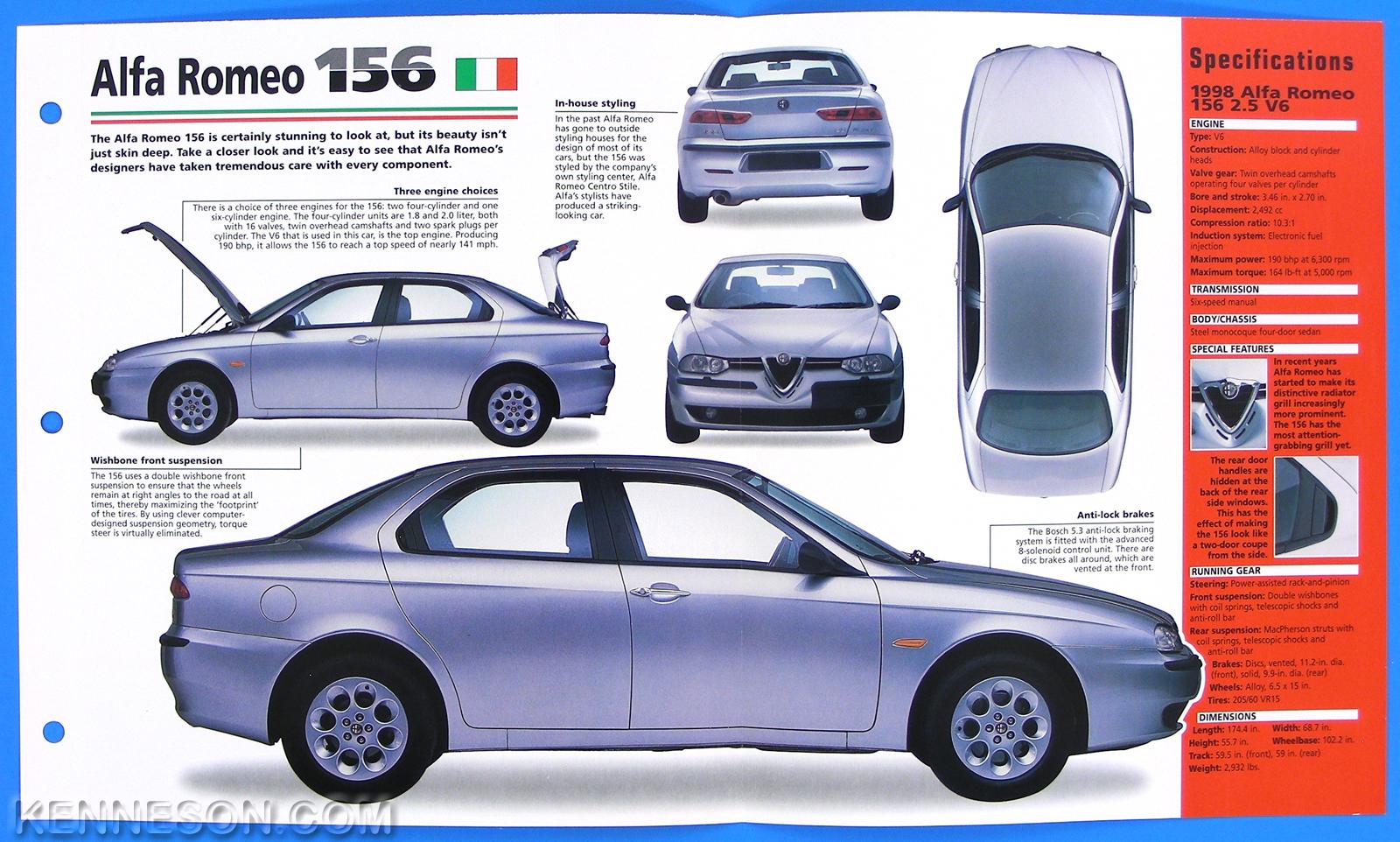 Alfa Romeo Italy Spec Sheet Brochure Poster IMP Hot - Alfa romeo poster