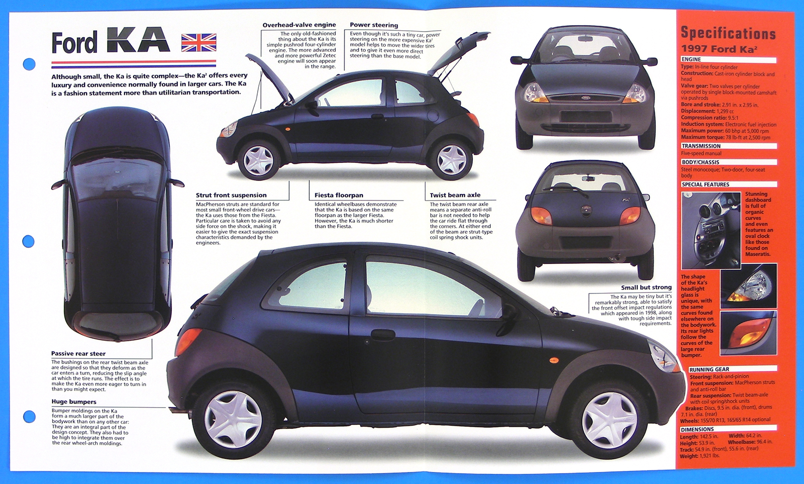 ford ka uk 1996 1998 spec sheet brochure poster imp hot. Black Bedroom Furniture Sets. Home Design Ideas