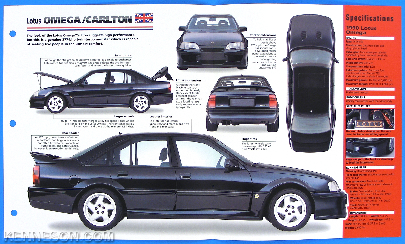 lotus omega carlton uk 1990 1992 spec sheet brochure poster imp hot cars 1 18 ebay. Black Bedroom Furniture Sets. Home Design Ideas